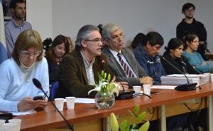 El diputado Remo Carlotto preside la sesión de comisión de Derechos Humanos en el Congreso.