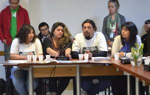 Los padres de Braian Hernández y Matías Casas en la exposición ante los diputados de la comisión  de Derechos Humanos en el Congreso Nacional.
