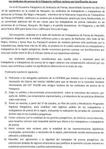 Documento elaborado por el IV Encuentro de sindicatos de Prensa de la Patagonia